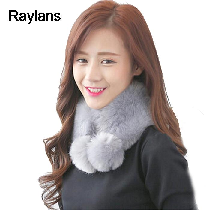 Raylans Elegant Lady Warm Scarf Women Faux Fur Collar Leisure Casual Plush Scarves