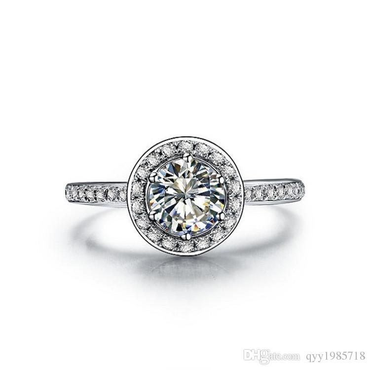 새로운 2017 T 브랜드 여성을위한 1CT SONA 합성 다이아몬드 반지 925 스털링 실버 약혼 쥬얼리 플래티넘 도금 결혼 반지