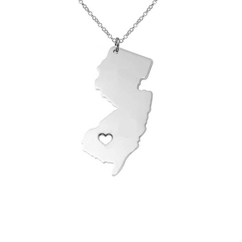 Wholesale us state new jersey map charm necklace state shaped i wholesale us state new jersey map charm necklace state shaped i heart new jersey necklace home charm necklace stainless steel number pendant necklace stone aloadofball Images