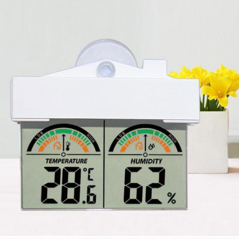 roof design Window temperature humidity meter with suction cup & adhesive tape for easy mounting in/outdoor thermometer hygrometer H208H