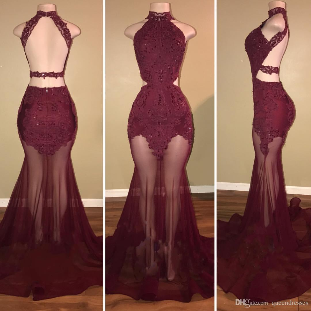 8429fa9e4ac Sexy Burgundy Long Prom Dresses Lace Halter Cross Straps Floor Length  Mermaid Evening Gowns Illusion Women Party Prom Dresses Online Teen Prom  Dresses White ...