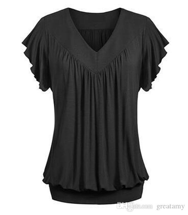 women's fashion summer solid color loose V-neck short sleeve shirt tops plus size S-5XL