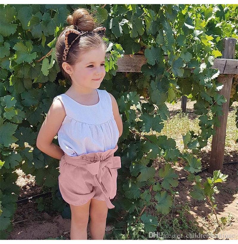 Bowknot Şeker Renkler Çocuk Giyim Çocuk Kız fırfır Şort Bebek Kız Bloomers 1-5 Yıl giysi ile 2018 Yaz Bebek Kız Şort