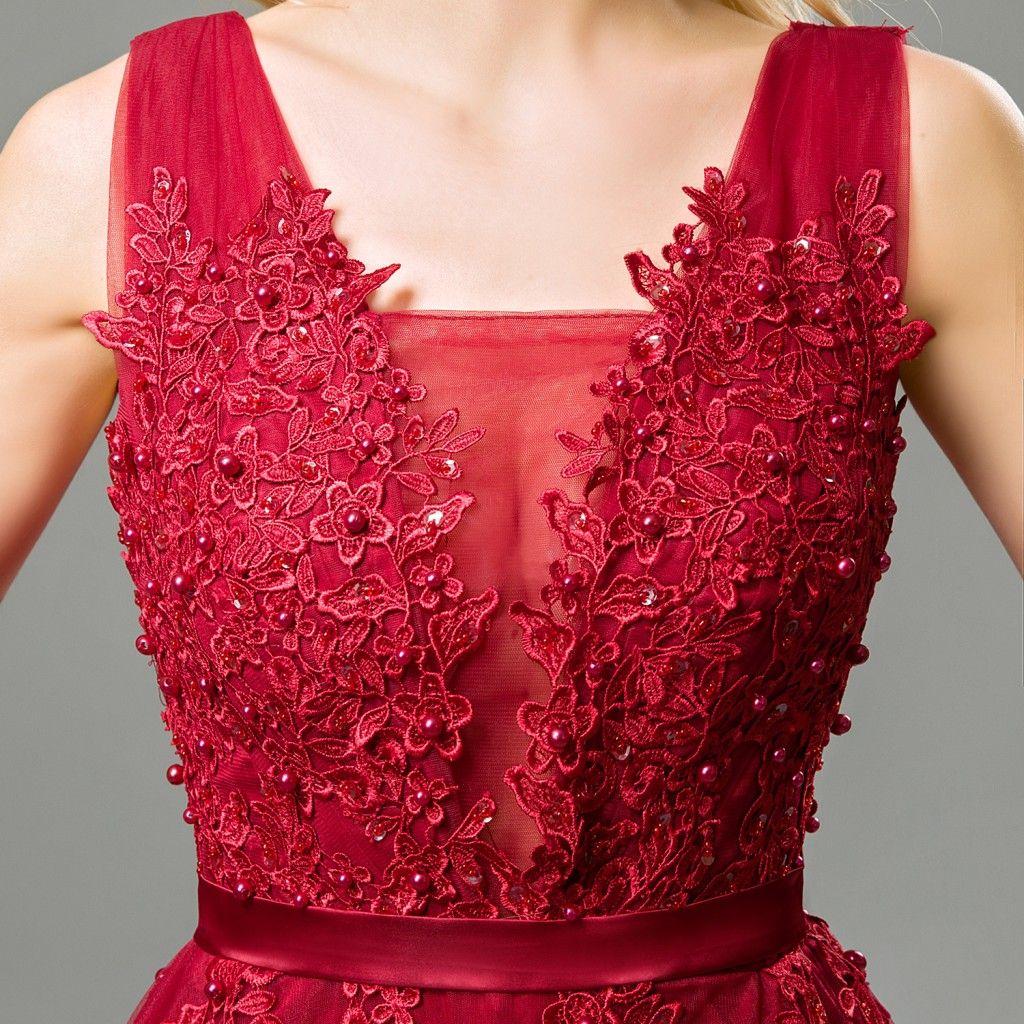 2019 Barato largo de tul vestidos de baile profundo cuello en V apliques de encaje espalda baja corsé vestidos de noche vestido de fiesta formal para las mujeres Borgoña