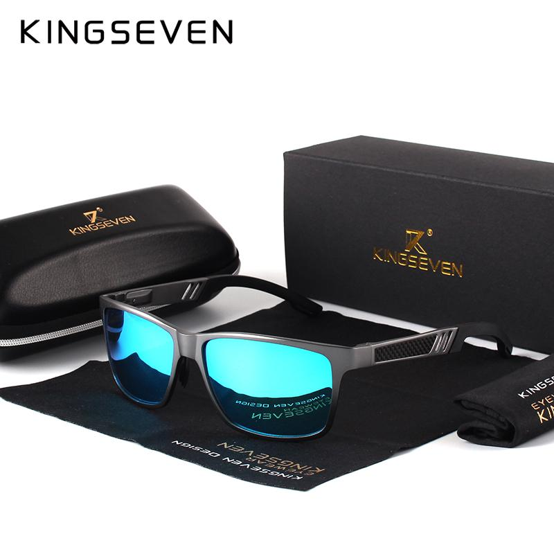 9d68bfde54 Compre KINGSEVEN Hombres Gafas De Sol Polarizadas Aluminio Magnesio Gafas  De Sol Gafas De Conducción Rectángulo Tonos Para Hombres Oculos Masculino  ...