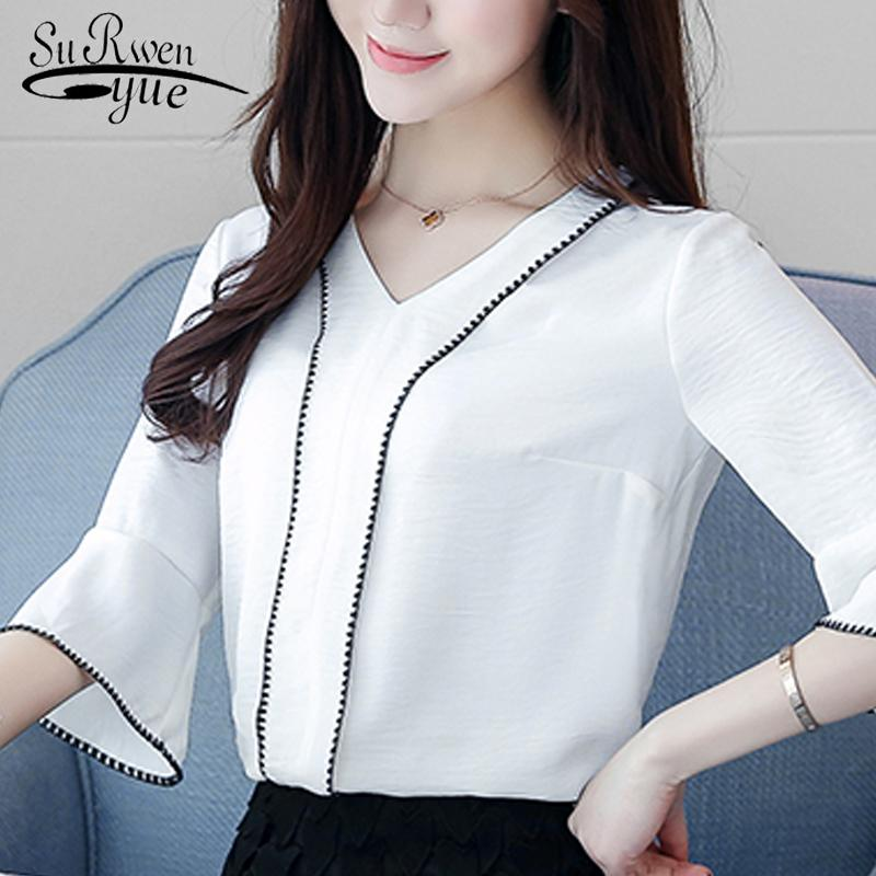 22d690166d0 ... Tops Source · 2019 2018 Fashion White Office Lady Shirt Women Blouse  Flare Sleeve