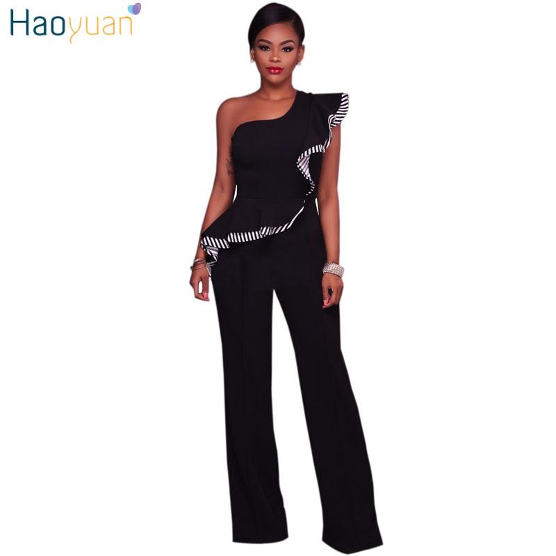 0d42086451b8 2019 HAOYUAN One Shoulder Wide Leg Jumpsuit Slanted Ruffles With Stripe  Sexy Full Bodysuit Playsuit Overalls Rompers Womens Jumpsuit From Xx2015
