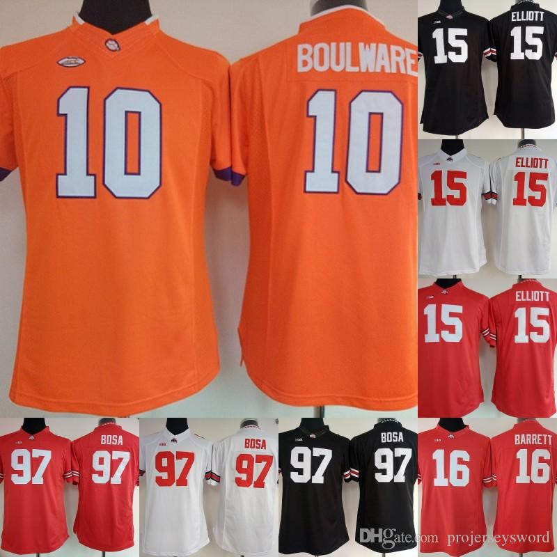 2019 Womens Clemson Tigers 10 Ben Boulware Jersey Ohio State Buckeyes 15  Ezekiel Elliott 97 Nick Bosa 16 JT Barrett College Football Jerseys From ... 3152d1696