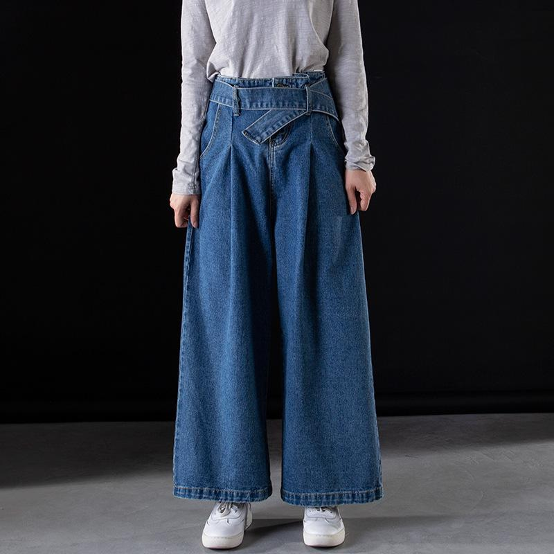 45dfb3954c6 2019 Women Wide Leg Denim Pants Plus Size Casual Jeans Bleached Washed  Straight Baggy Jean High Waist Baggy Trousers With Belt CK8128 From  Beautyjewly