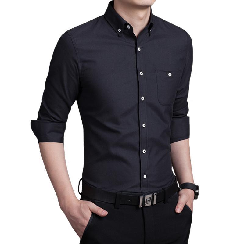 ae3bb9f825 Compre Camisa Hombre Manga Larga Camisa De Color Puro Para Hombre Camisas  De Tela De Algodón Y Poliéster Hombres 5XL A  33.44 Del Jerkin