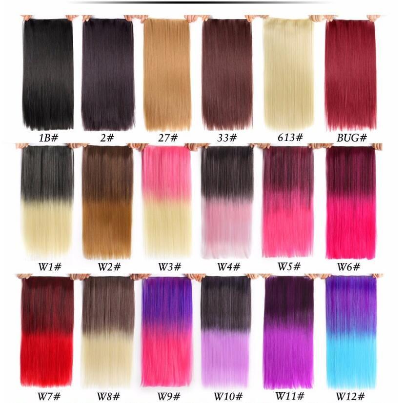 22 120g Long Straight Hair Extension Black Artificial False
