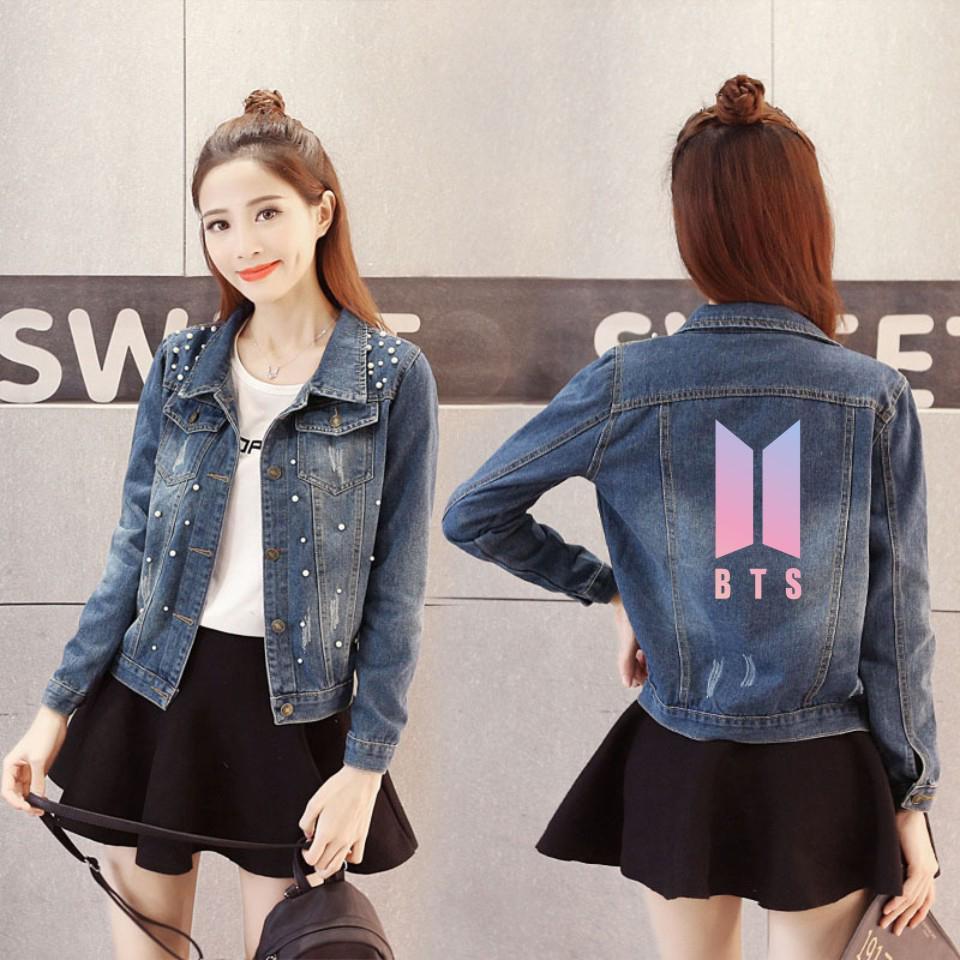2018 Kpop Bts Love Yourself Denim Jacket Jeans Chaquetas Mujer Women