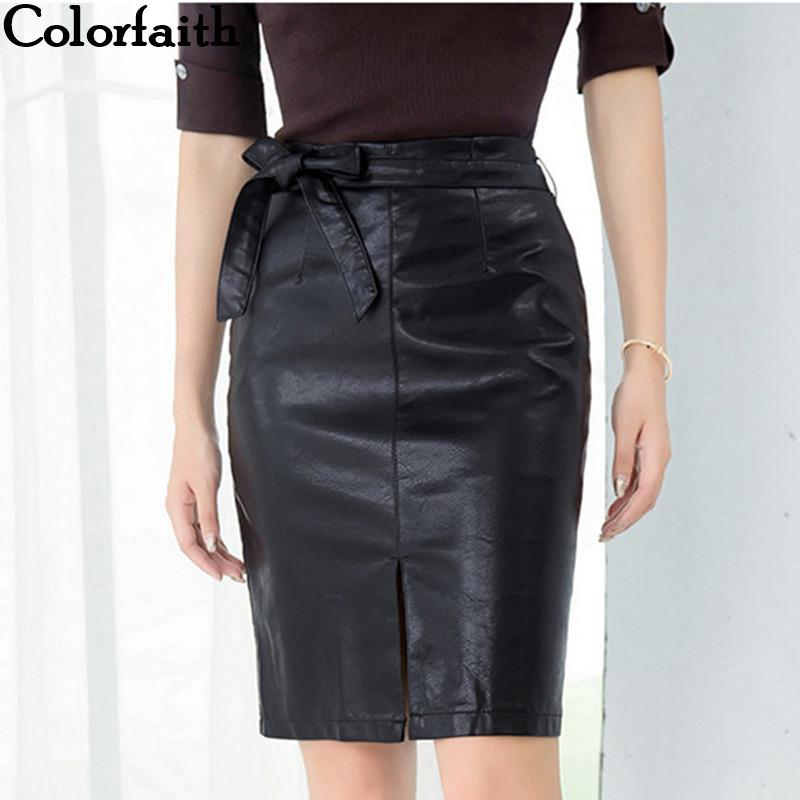 fd2d6e77f3ca faith New 2019 Women PU Leather Skirt Autumn Winter Pencil Eelegant Bow  Ladies Fashion Package Hip Slit Midi Skirt SK3440 From Cadly