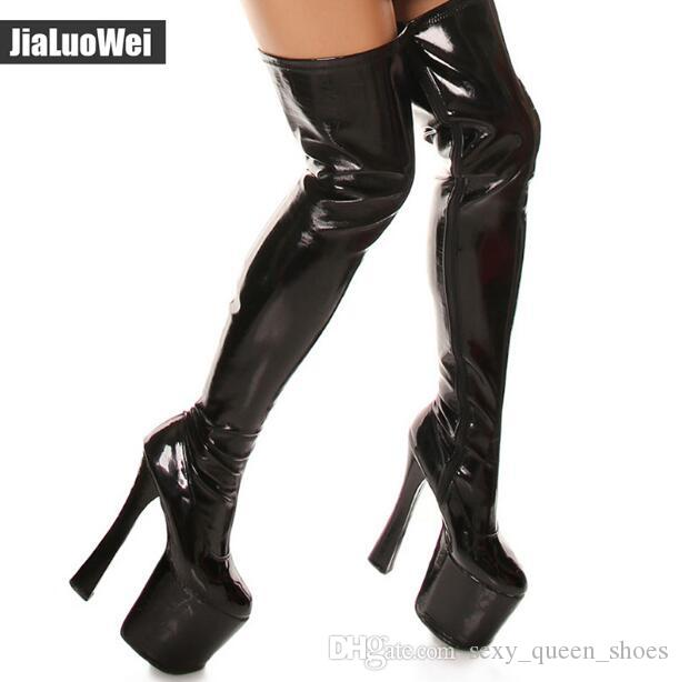 8781e1bca07b 2019 Fashion Sexy Stage Show Shoes 20cm High Heeled Over The Knee Boot  Women Thigh High Boots Man Platform Boots 9cm Plus Size Shoe Boots Over  Knee Boots ...