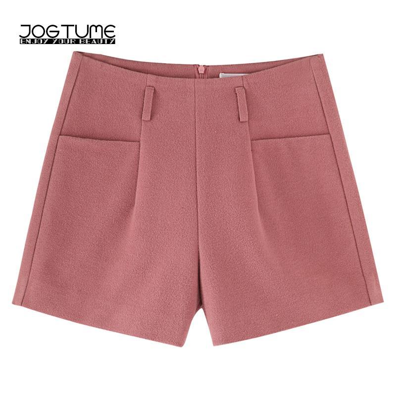 nuovo stile b2142 32bab JOGTUME 2017 Pantaloncini invernali Donna Moda Pantaloncini cargo larghi  Plus Size Casual Donna Calda per autunno Colore grigio nero rosa