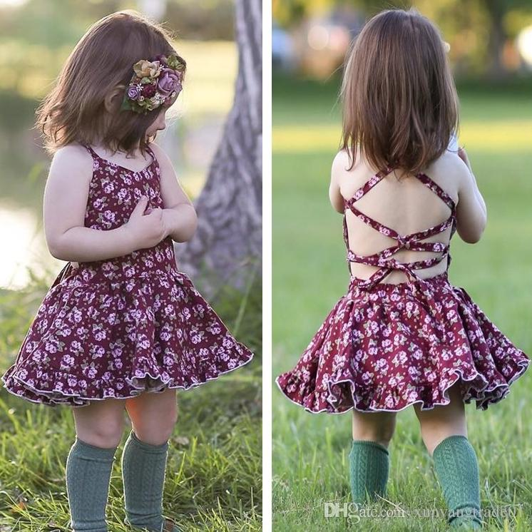 2018 Ins Summer Baby Girls Dresses Fashion Floral Flower Sexy