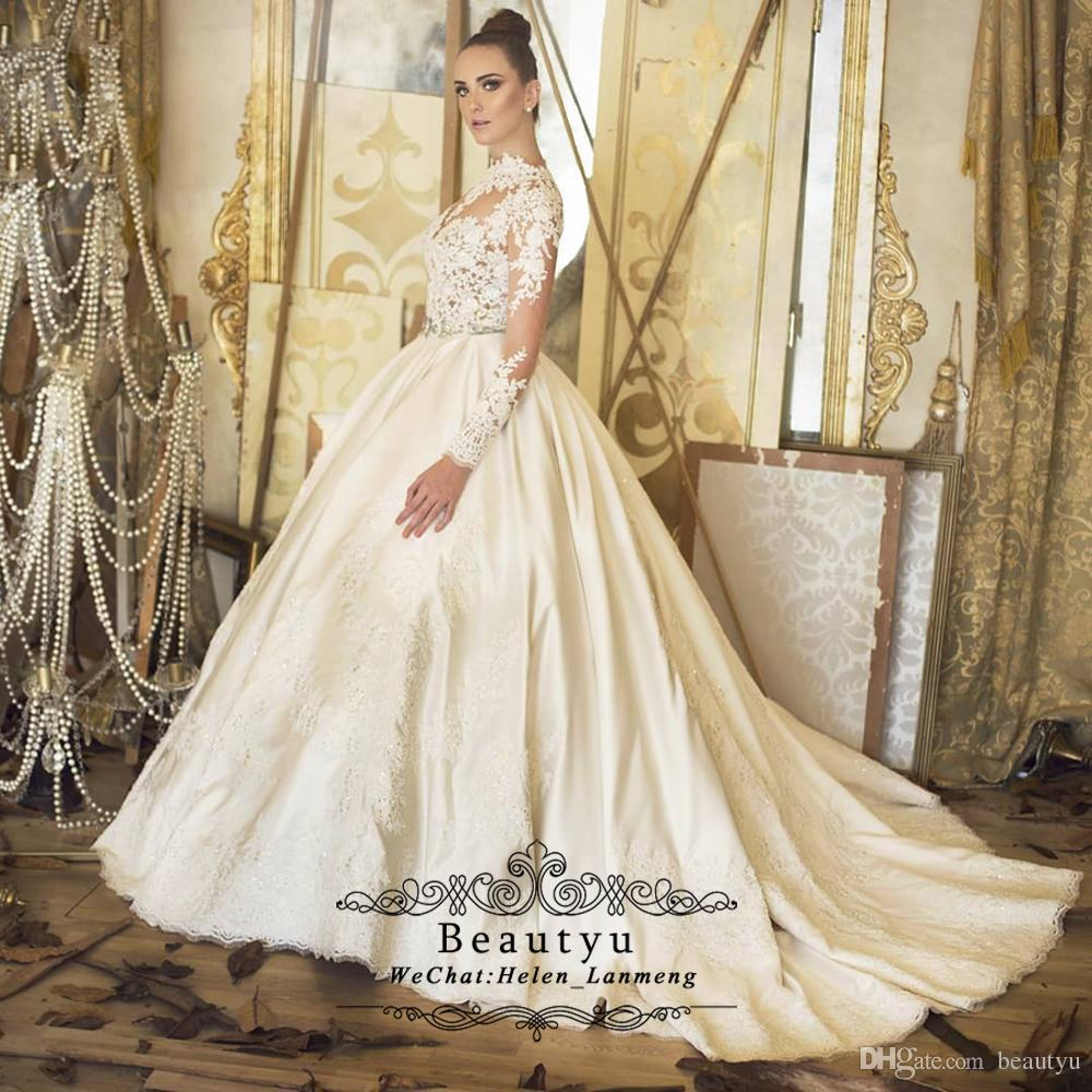 2019 Princess Lace Ball Gown Wedding Dresses Plus Size Illusion Long Sleeve  High Neck Vintage Lace Satin Bridal Gowns With Sweep Train Ball Gown Dresses  ... 42e643d3023f