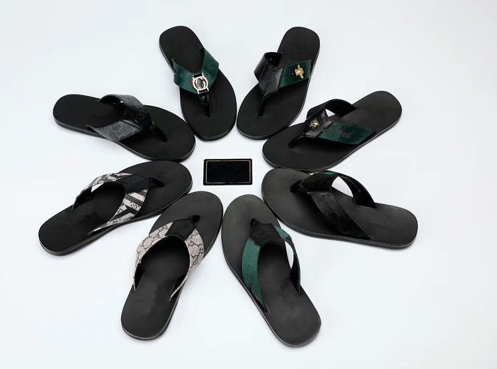 837c407afa03 Good Quality Men s Designer Slippers Genuine Leather Clip Feet Flip Style  European Tiger Lines Style Shoes Luxury Brand Sandals Hf180724018 Men s  Slippers ...