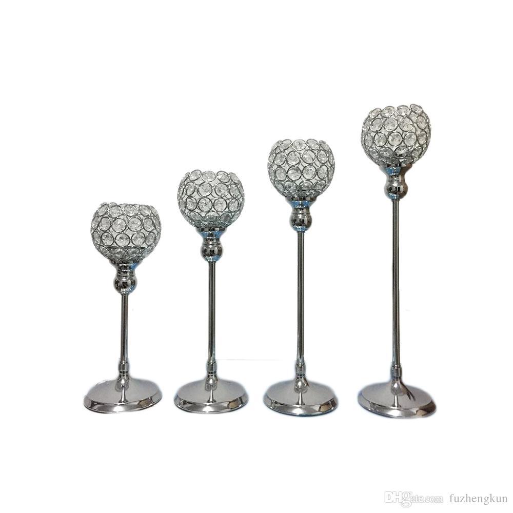 Single Candle Holder K9 Crystals Silver Plated Wedding Candelabra ...