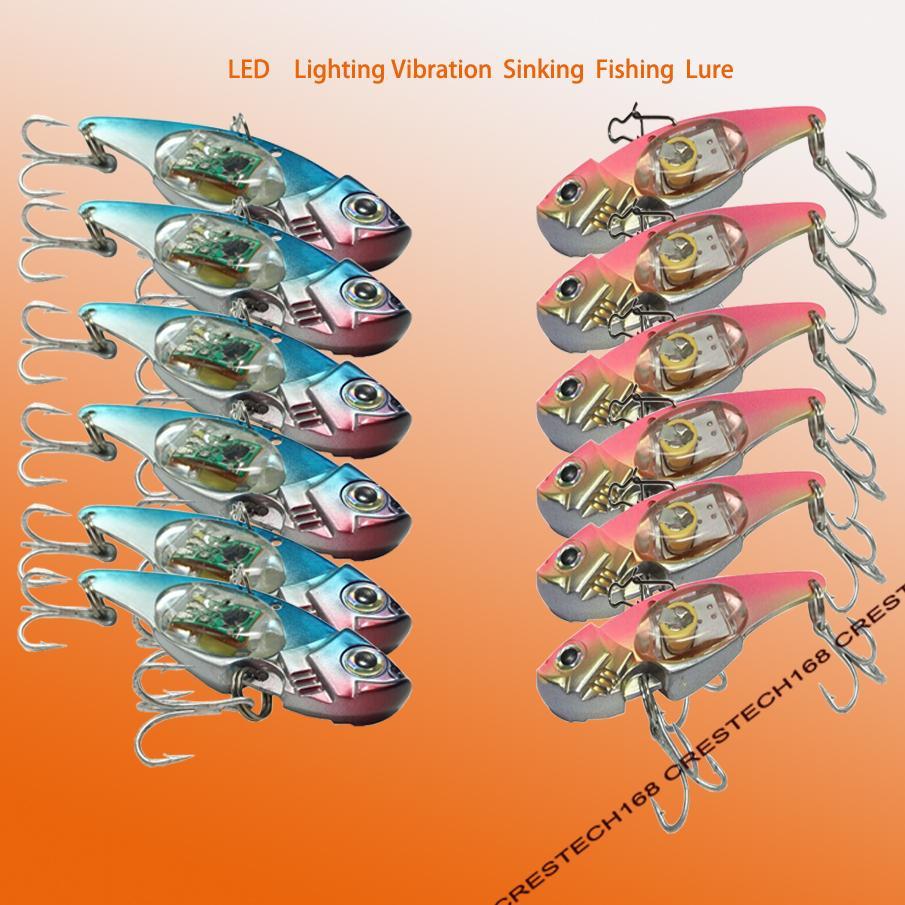 Рыболовные приманки Металлические VIB Электрические приманки Рыболовные светодиодные приманки Металлическая ложка Рыбалка Жесткая приманка Bass Blade Crank Bait Treble Hooks Spinners Se