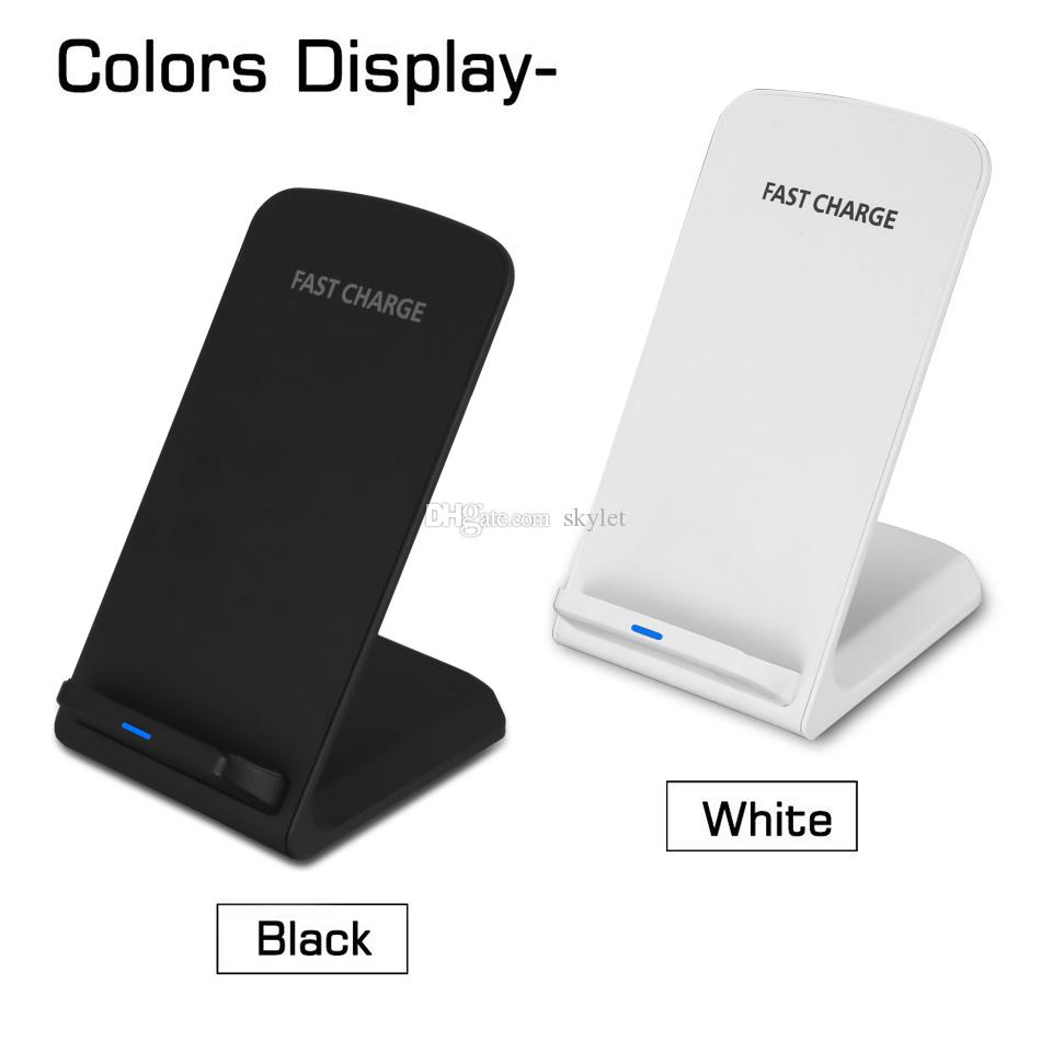 Cargador inalámbrico de 2 bobinas para iPhone X 8 8 Plus Soporte inalámbrico de carga rápida Qi Pad para Samsung Nota 8 S8 S7 Todos los teléfonos inteligentes habilitados para Qi