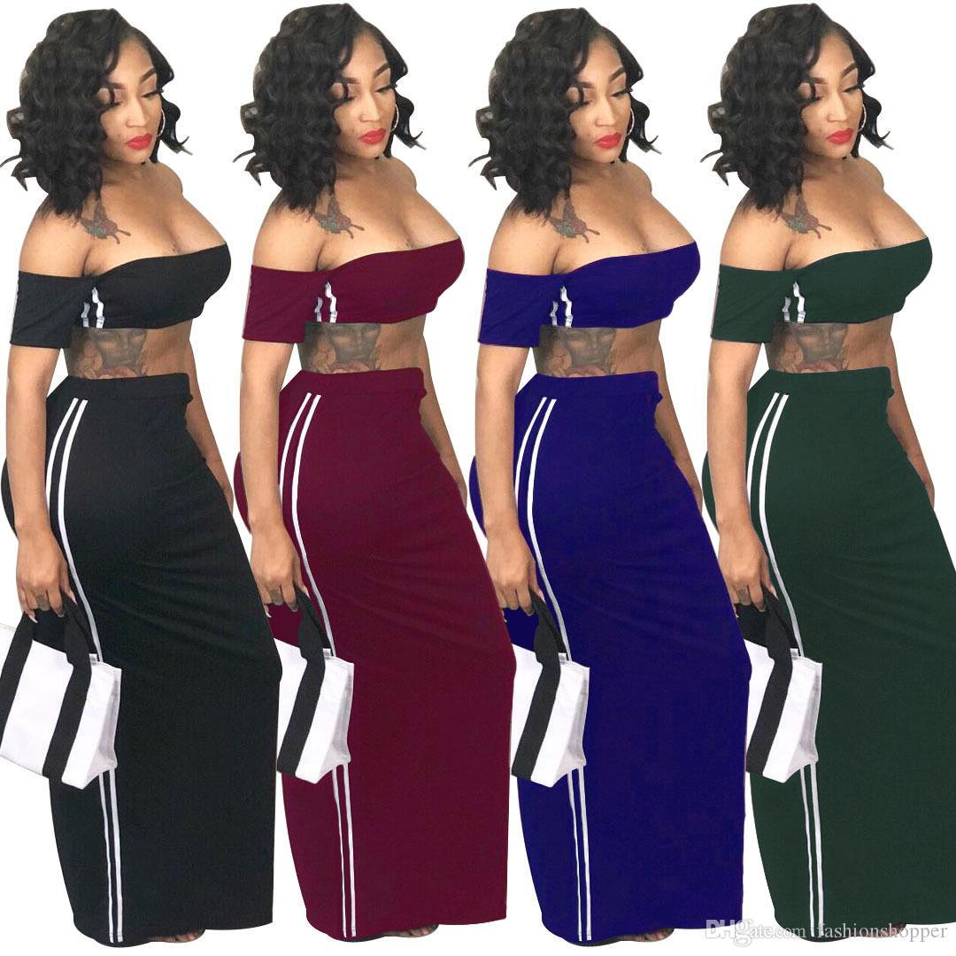 33d1a5e6785ef Women s Sexy Off Shoulder Short Sleeve Side Striped Crop Top Long ...