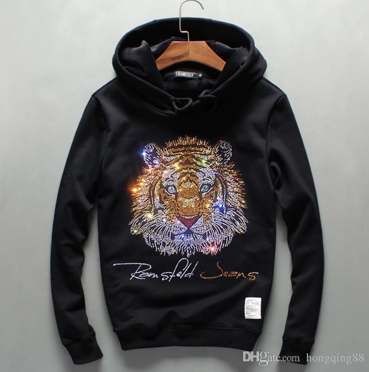 new products c1a25 5c19a Herren Winter Pullover mit Kapuze Sweaterhirt mit dicken langärmeligen  Cashmere Stone Tiger Strickjacke Mode Hoody