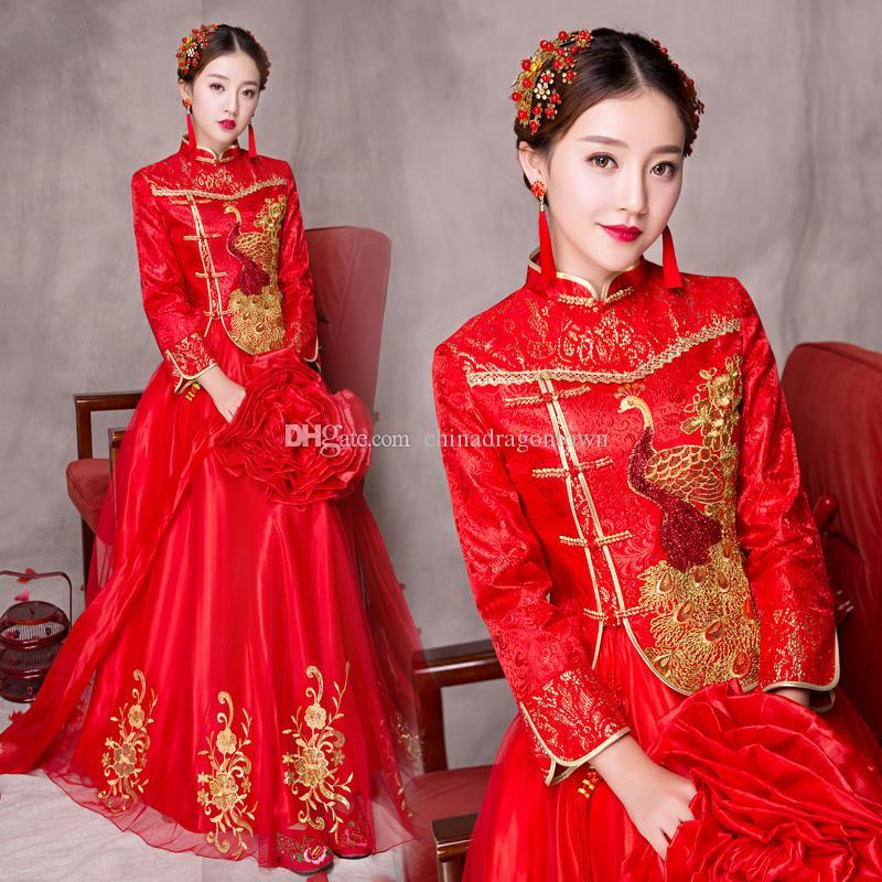 e7bf5bdeda2b0 Peacock pattern Chinese traditional wear Classical Wedding vestido elegant  Red bride dress Oriental Traditional Cheongsam ethnic clothing