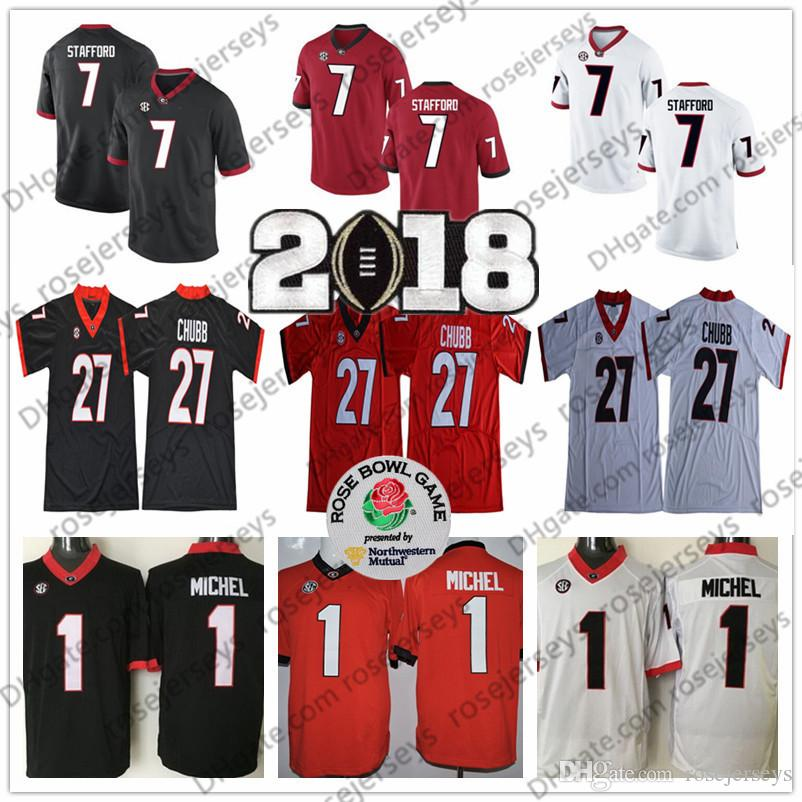 614c7fae7 2019 NCAA Georgia Bulldogs  1 Sony Michel 27 Nick Chubb 7 Matthew Stafford  Black Red White College Football 2018 Rose Bowl Championship Jerseys From  ...