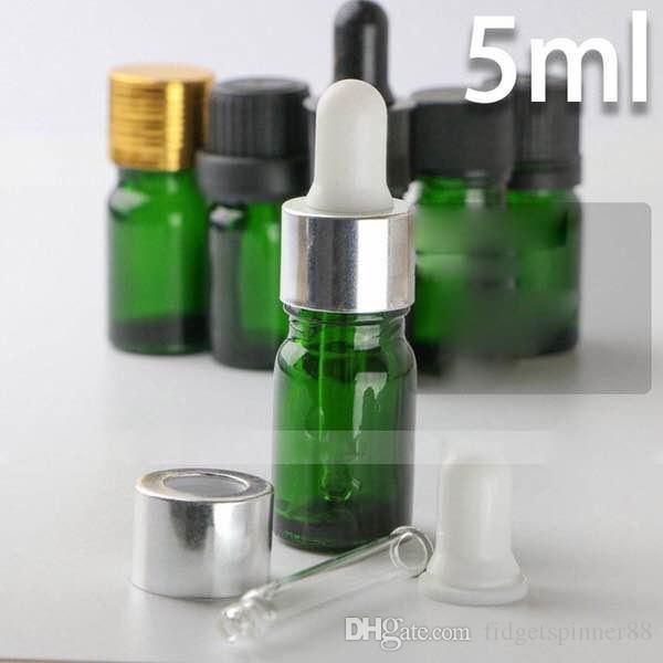 2018 hot sale Glass Empty 5ml Dropper Bottles For Essential Oils, Green 5ml E-liquid Glass Dropper Bottles Wholesale for ELIQUID