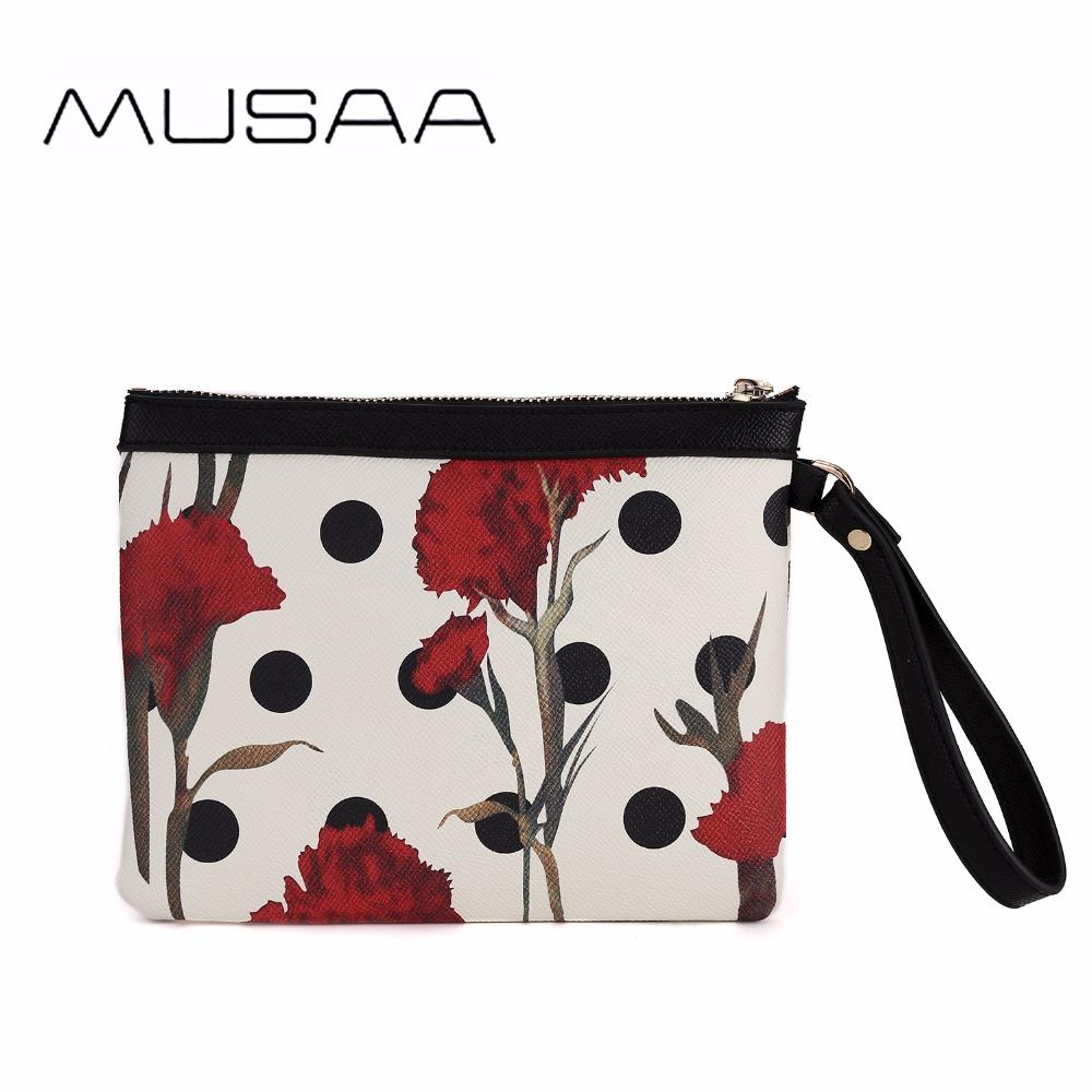 MUSAA Mini Flowers Wristlets Clutch Bag Fashion Lady Classic Printing  Wallet Lightweight Convenient PU Leather Hobo Handbags Handbags Brands From  ... 58689ff90e67f