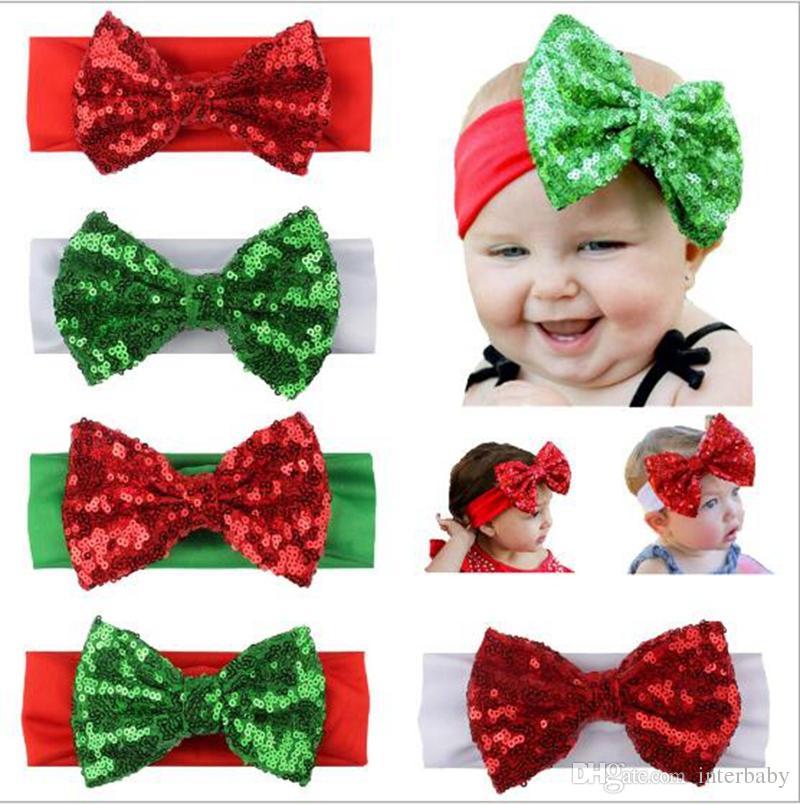 9ecf4bf2e1f75 INS Kids Christmas Hair Bows Baby Girls Sequins Bow Headbands Red Green White  Hair Accessories Birthday Gift Headwear 17 5 Cm YL696 Headbands Hair ...