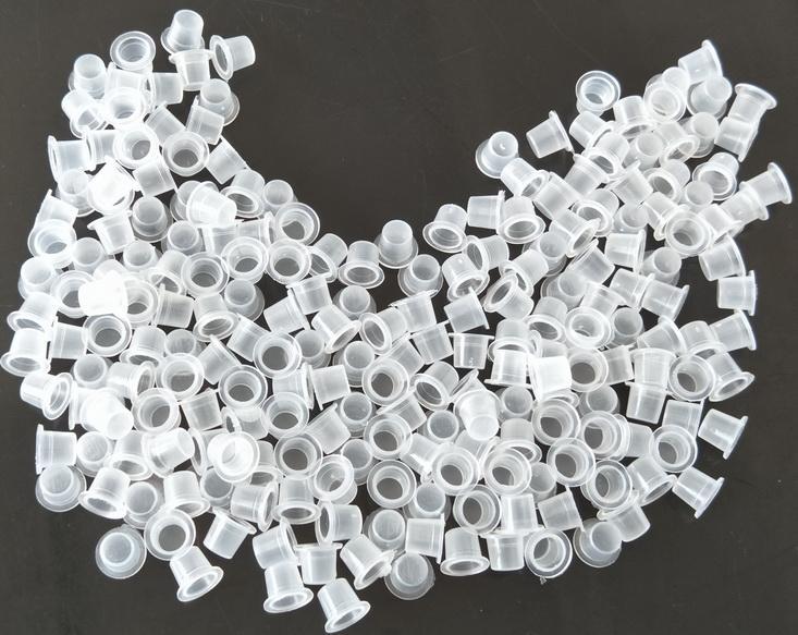 Vit 8mm liten storlek professionell tatuering bläckkoppar kepsar plast transparenta pigment koppar kepsar tatuering maskin tillbehör