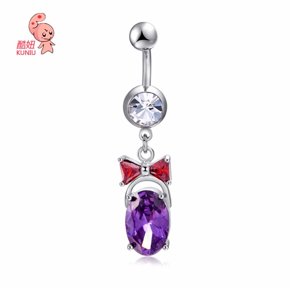 2017 New Fashion Bow-knot Luxury Zircon Crystal Silver Navel Piercing Navel Belly Button Rings Women Body Jewelry Belly Piercing