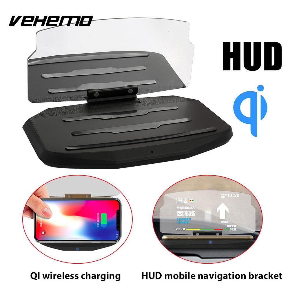 Phone HUD Stand Car GPS Holder Multi-Functional Projection Bracket Wireless Charger Head-Up Display Black DC 5V