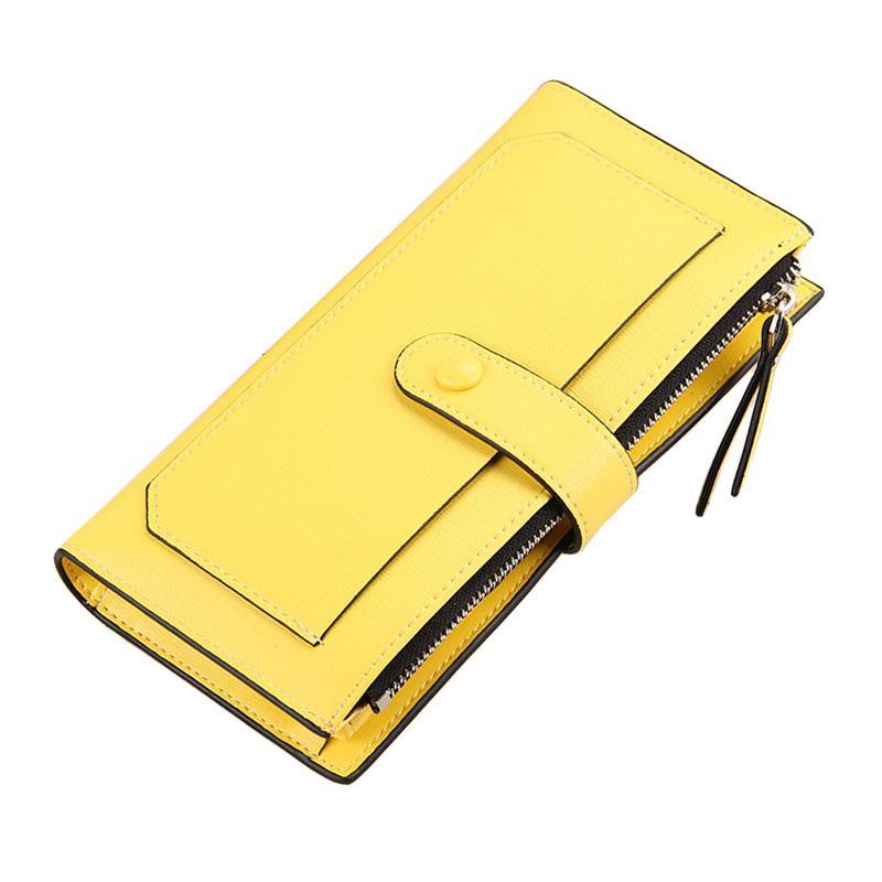 bfde99d77 Compre 2018 Moda Feminina Carteira De Couro Bolsa De Telefone Mulher  Carteira Longo Feminino Zipper Dinheiro Coin Purse Marca Titular Do Cartão  Amarelo ...