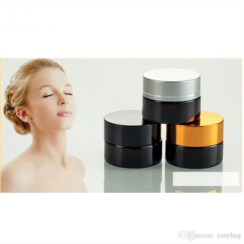 5 g / 5 ml 10 g / 10ml Cosmetic Leeren Glas-Topf Make-up Gesichtscreme Behälter Flasche mit schwarzem Silber Gold Deckeln und Inner Pad 0131