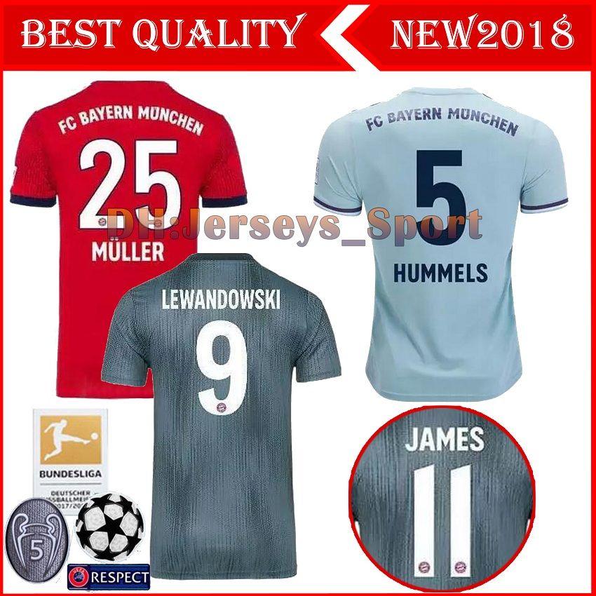 8bf255decc3 2019 Top QUALITY Bayern Munich JAMES RODRIGUEZ Soccer Jersey 2018 2019  LEWANDOWSKI VIDAL COMAN MULLER KIMMICH Jersey 18/19 HUMMELS Football Shirt  From ...