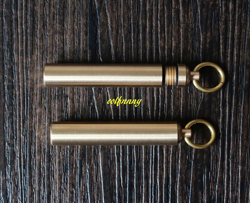 12*50mm Copper Pill Box Waterproof Keychain Pill Storage Box Case Holder Ourdoor Dispenser matches box jar