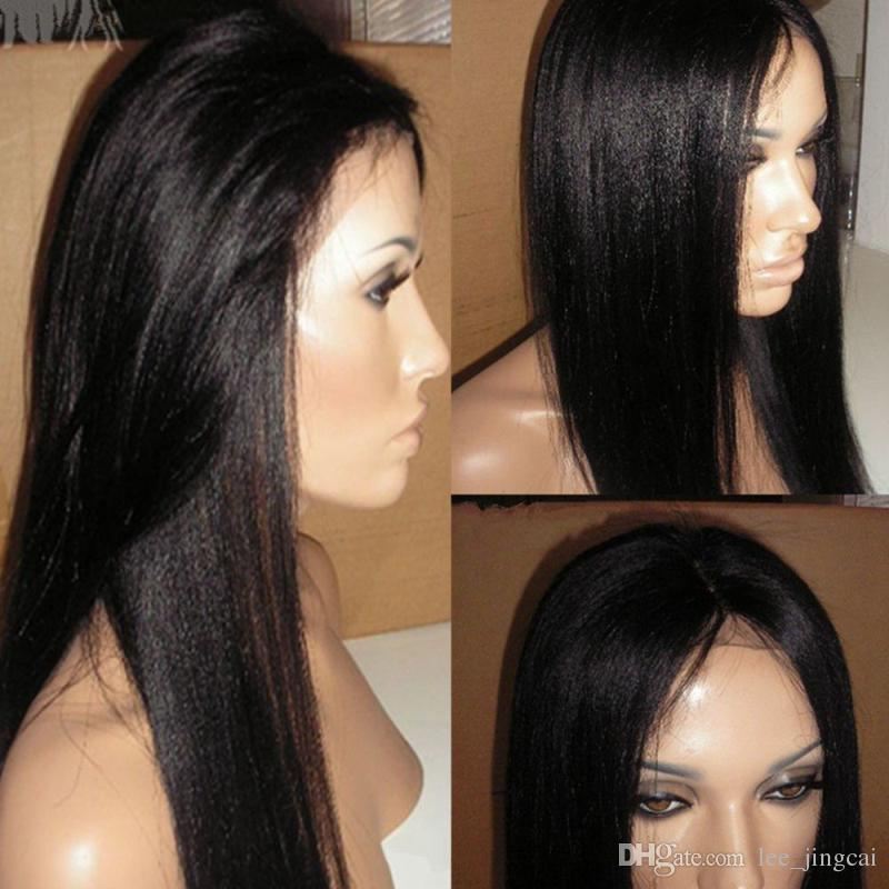 Yaki Straight Glueless Full Lace Human Hair Wigs Pre Plucked 130 Density 8-26 Inch Remy Hair Brazilian Wig Pre-Plucked