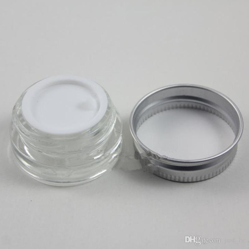 Pot de crème en verre dépoli clair de 5 g avec couvercle en aluminium argenté, pot de cosmétique de 5 grammes, emballage pour crème pour échantillons / yeux, mini bouteille en verre de