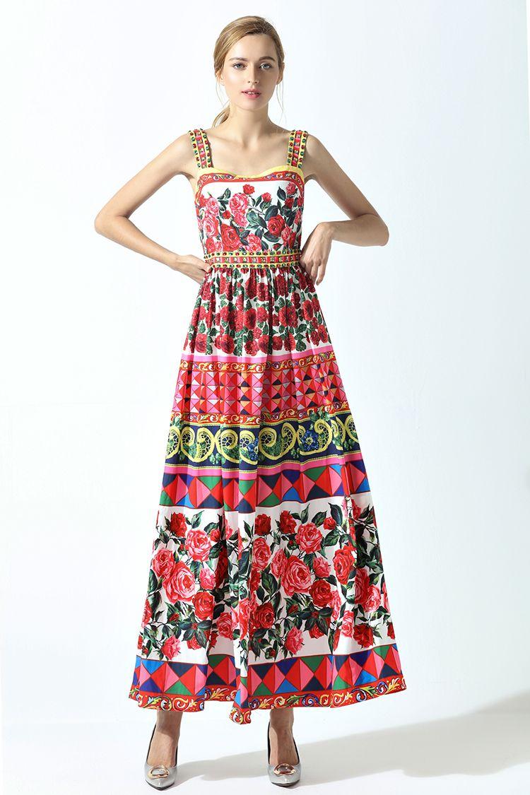 b894ae88a5d0 2019 High Quality 2018 Summer New Runway Maxi Dress Women S Spaghetti Strap  Cute Charming Rose Flower Floral Print Beading Long Dress From Shanbitao