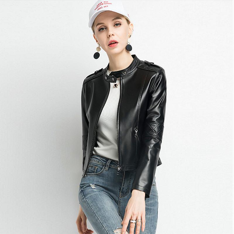 Jacket Women Black Leather Coat 100 Sheepskin Simple Design Zipper