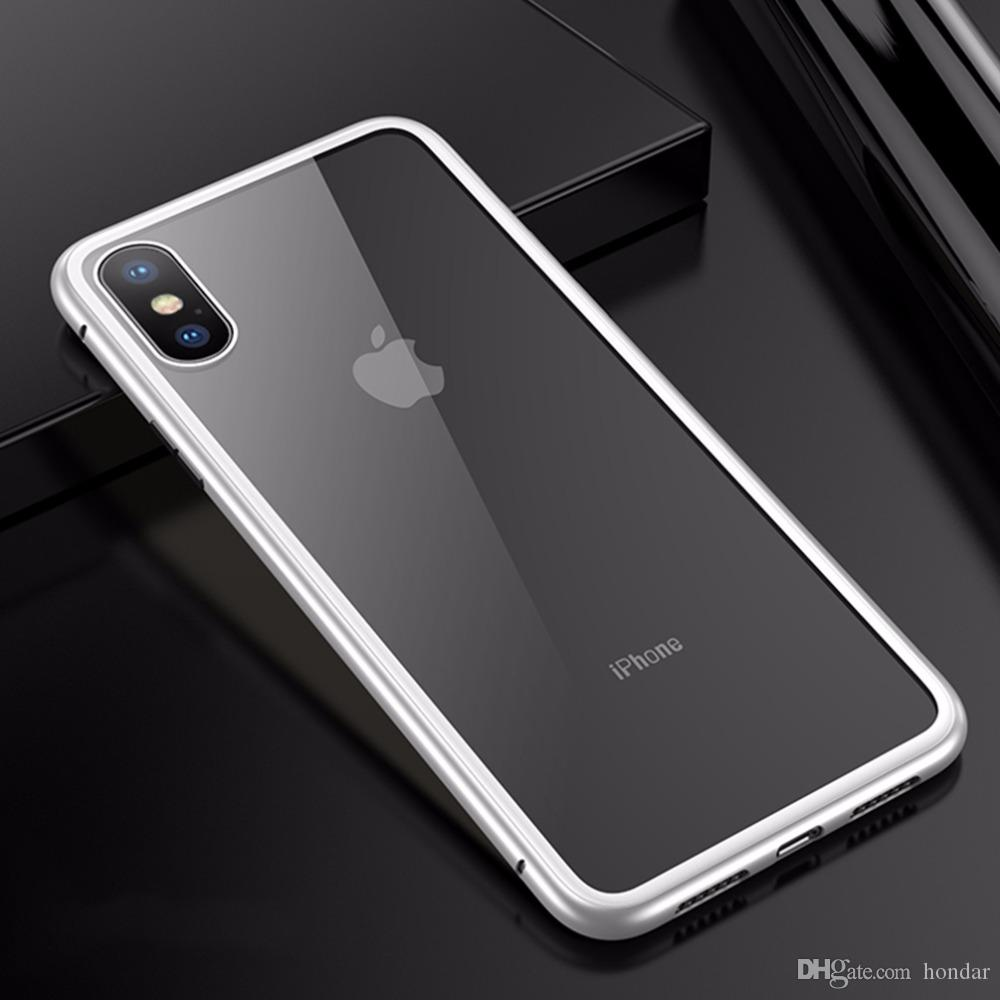 check out 2c847 e27f1 For iphone 7 case Magnetic Adsorption Flip for iphone x case Tempered Glass  Back shell Metal Bumpers for Goophone phone case