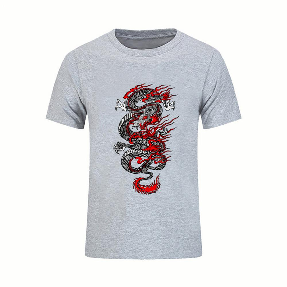 Great tees mens t shirts chinese dragon short sleeve tees shirts pre cotton cool design 3d tshirt male twin peaks online with 13 6 piece on