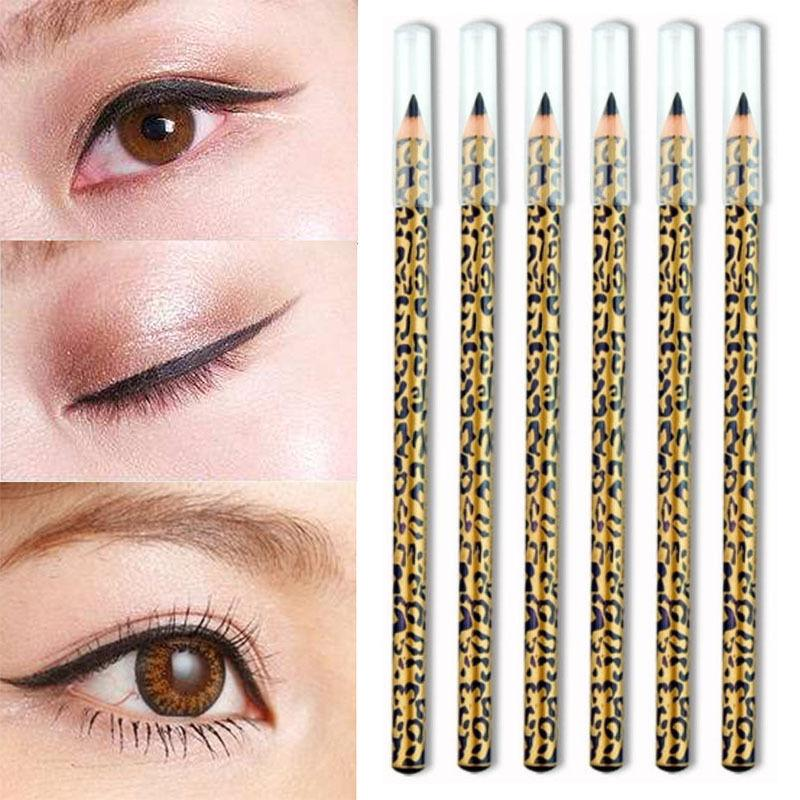 Hot Portable Girls Women Yellow Leopard Print Black Eyeliner Cosmetic Makeup Eye Liner Tools Accessories