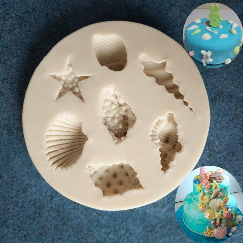 2019 Sea Creatures Starfish Shell Diy Silicone Baking Tools Fondant