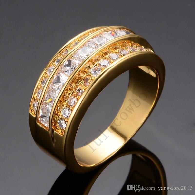 Ювелирные изделия новый размер 9 to12 мода мужчины и женщины перидот Cz 14 к Yelow золото заполненные обручальное кольцо подарок бесплатная доставка RY0018