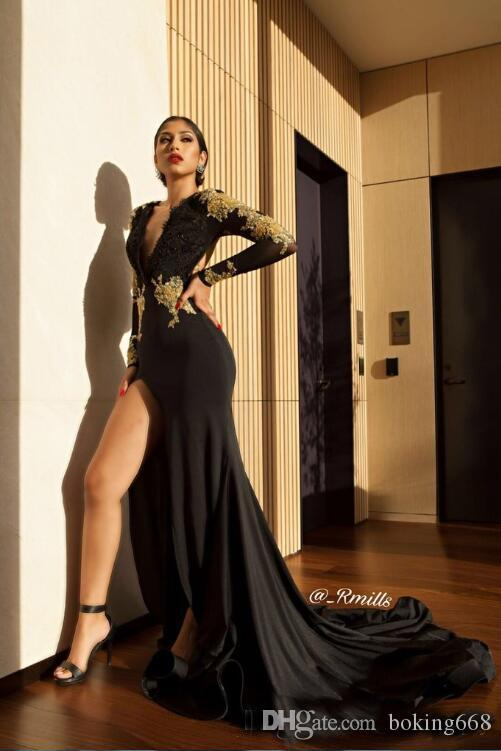 Sexy Black High Slit Prom Party Dresses 2019 Newest Gold Lace Appliques Mermaid Sheer Long Sleeves Deep V Neck Open Back Evening Gowns