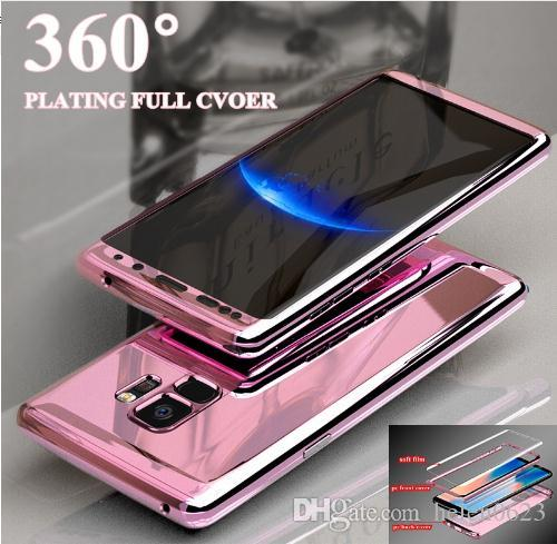 best value e470e 6b2c2 For Samsung s8 s9 s7 note 8 Case Luxury 360 Plating Mirror Full Coque Cover  For Samsung Galaxy Note 9 8 S7 Edge S9 S8 Plus Case iPhone XS XR